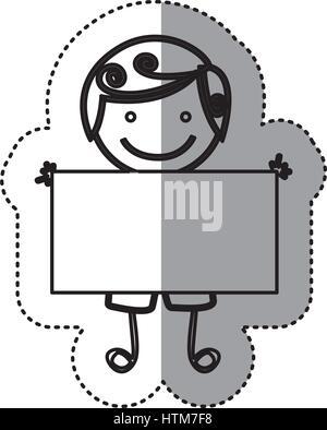 Pegatina silueta boceto caricatura chico con el pelo rizado y banner