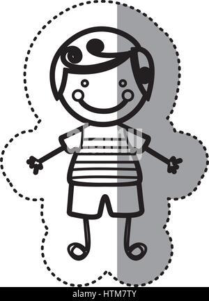 Pegatina silueta boceto caricatura chico con el pelo rizado