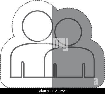 Pegatina silueta pictograma icono gente llana