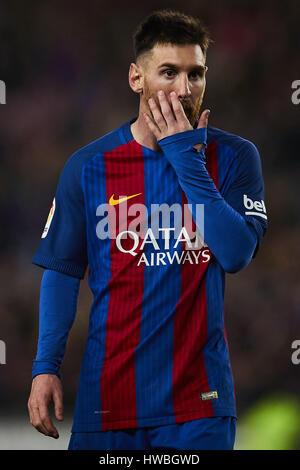 Barcelona, España. 19 Mar, 2017. Lionel Messi (FC Barcelona), durante la Liga partido de fútbol entre el FC Barcelona y el Valencia CF, en el estadio del Camp Nou en Barcelona, España, el domingo, 19 de marzo de 2017. Foto: S.Lau Crédito: dpa/Alamy Live News Foto de stock