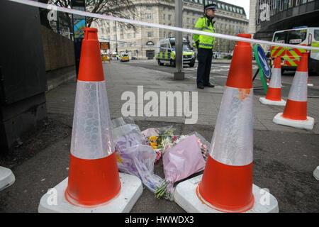Westminster, London, UK 23 Mar 2017- homenajes florales en Westminster Bridge. Scotland Yard dijo el 23 de marzo de 2017 que la policía ha realizado siete arrestos en redadas realizadas durante la noche en Birmingham, Londres y otras ciudades en el país tras el ataque terrorista en el Palacio de Westminster y el puente de Westminster, el 22 de marzo de 2017, dejando un saldo de cuatro muertos, incluido el atacante, y 29 personas resultaron heridas. Crédito: Dinendra Haria/Alamy Live News