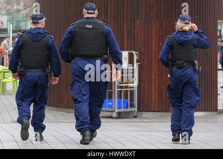 Westminster, London, UK 23 Mar 2017- Policías alrededor del Ojo de Londres. Scotland Yard dijo el 23 de marzo de 2017 que la policía ha realizado siete arrestos en redadas realizadas durante la noche en Birmingham, Londres y otras ciudades en el país tras el ataque terrorista en el Palacio de Westminster y el puente de Westminster, el 22 de marzo de 2017, dejando un saldo de cuatro muertos, incluido el atacante, y 29 personas resultaron heridas. Crédito: Dinendra Haria/Alamy Live News