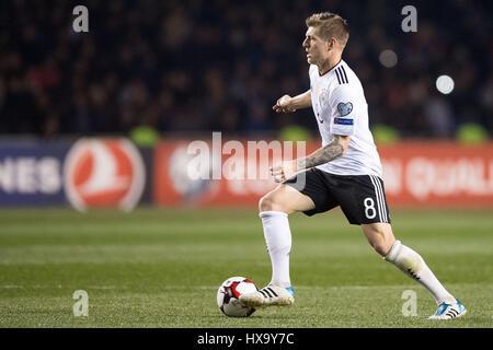 En Bakú, Azerbaiyán. 26 Mar, 2017. Alemania Toni Kroos en acción durante la Copa Mundial de la FIFA la fase de grupo calificador partido de fútbol entre Azerbaiyán y Alemania en Bakú, Azerbaiyán, el 26 de marzo de 2017. Foto: Marius Becker/dpa/Alamy Live News