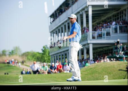 Austin, Texas, EE.UU. 26 de marzo de 2017. Dustin Johnson en acción en los Campeonatos del Mundo de Golf Tecnologías Foto de stock
