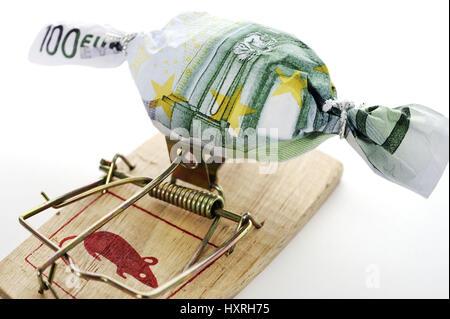 Dulce en Bank note muffledly en ratonera, simbólica foto a deuda, caso en Bonbon Geldschein eingewickelt auf Mausefalle, Symbolfoto Schuldenfalle