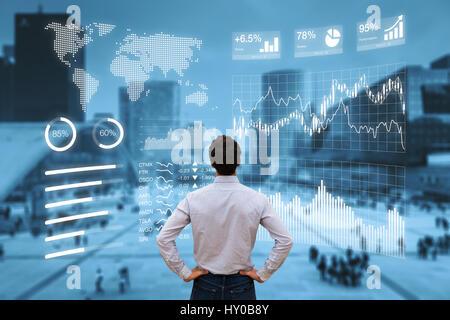 Persona analizando un tablero financiero con indicadores clave de rendimiento (KPI) y business intelligence (BI) de gráficos con un paisaje urbano del distrito de negocios