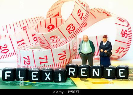 Senior Citizen par y trazo, Seniorenpaar Flexi pension und Schriftzug Flexi-Rente
