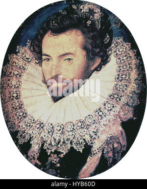 Sir Walter Raleigh retrato oval por Nicholas Hilliard Foto de stock