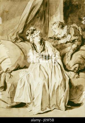 Jean Honoré Fragonard - la letra o la conversación en español: Foto de stock