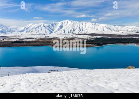 Vista panorámica del lago Tekapo, Isla Sur de Nueva Zelanda