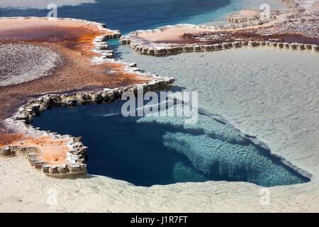 Doublet piscina con yacimientos minerales, la Cuenca del Géiser Superior, el Parque Nacional Yellowstone, Wyoming, EE.UU.