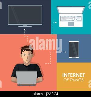 Cosas de internet hombre tecnologías portátiles de trabajo Teléfono móvil tv digital