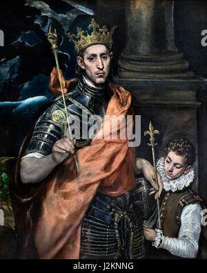 'St Louis, Rey de Francia, y una página' de El Greco (Doménikos Theotokópoulos, 1541-1614), óleo sobre lienzo, c.1585-90. Retrato del Rey cartas IX de Francia (1214-1270), comúnmente conocido como Saint Louis, que reinó de 1226 a 1270.
