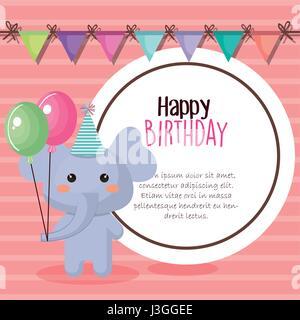 Tarjeta de cumpleaños feliz con tierno animal