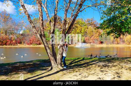 Pelirroja de bellos paseos sobre el lago. chica en un bosque de verano cerca del estanque. Una morena de pie cerca Foto de stock
