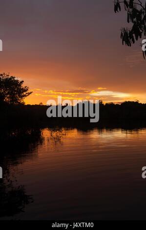 Parcialmente nublado naranja atardecer sobre el Río Amazonas con ondulaciones en la superficie del agua saliendo