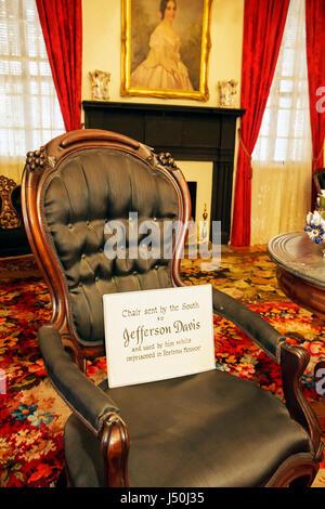 Alabama Montgomery County, Montgomery, Primera Casa Blanca de la Confederación, Jefferson Davis, Guerra Civil, salón, interior, silla, muebles antiguos, historia, así