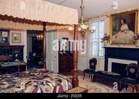 Alabama, AL, Sur, Condado de Montgomery, Montgomery, primera Casa Blanca de la Confederación, Jefferson Davis, Guerra Civil, dormitorio, dosel, pintura, interi