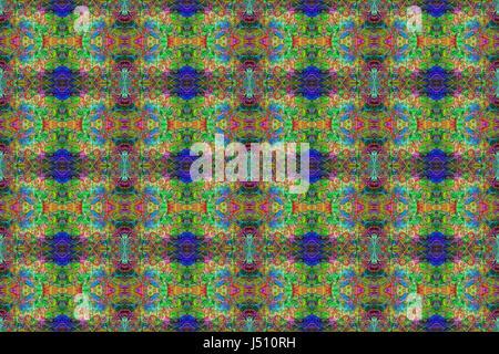 Un patrón abstracto sin fisuras muy detalladas en verdes, azules, rojos y amarillos para los fondos, texturas, diseños, obras digitales, envases y utilizar 3d.