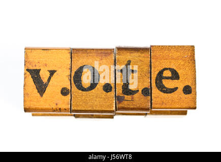 Vintage voto Alfabeto Fuente impresiones del bloque de madera Foto ...