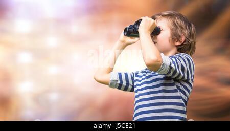 Compuesta Digital de Chico mirando a través de binoculares contra fondo desenfocado