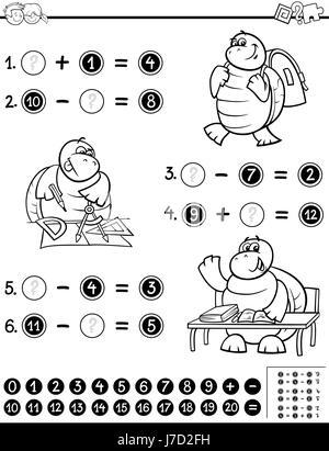 Actividad de matemáticas para colorear Ilustración del Vector ...