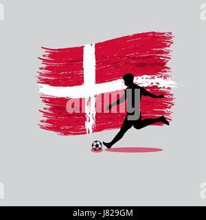 La acción del jugador de fútbol con el Reino de Dinamarca bandera en el vector de fondo