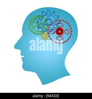 Cerebro trabaja de concepto. Las ideas, la creatividad concepto de la cabeza humana con engranajes interior aislado sobre fondo blanco.