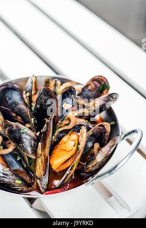 Estofado de Mejillones frescos en salsa de ajo picante vino mariscos tapas