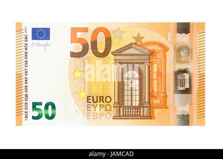 Cincuenta billetes sobre un fondo blanco. Foto de stock