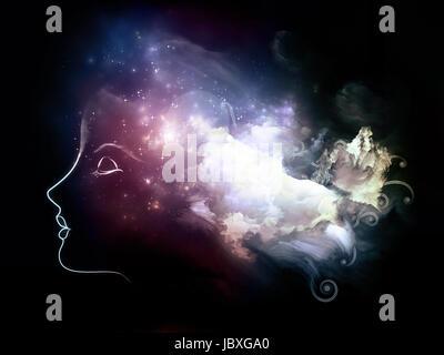 Mente Universal series. Composición visualmente agradable de cabeza humana y nubes fractales para servir de fondo en las obras sobre la mente, los sueños, el pensamiento, la conciencia y la imaginación