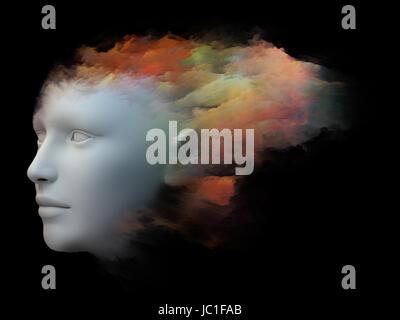 Colorido cuenta series. Composición visualmente agradable de cabeza humana y colores fractal para servir como fondo en las obras sobre la mente, los sueños, el pensamiento, la conciencia y la imaginación