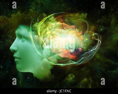 Colorido cuenta series. Como telón de fondo el diseño de cabeza humana y fractal de colores para proporcionar apoyo para obras de composición sobre la mente, los sueños, el pensamiento, la conciencia y la imaginación