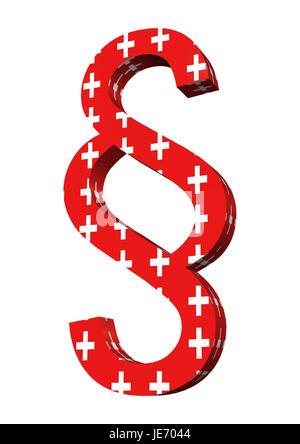 Los caracteres del párrafo en los colores nacionales, Suiza