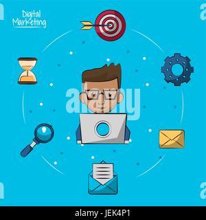 Póster de marketing digital con hombre trabajando en equipo portátil en primer plano y los iconos de marketing alrededor de él