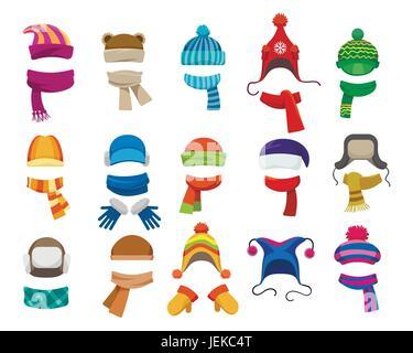 Colección Otoño Invierno o sombreros. Vector tejer sombreros 8b405e8cdec