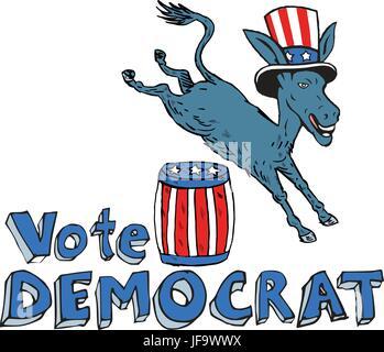 Voto Demócrata mascota burro saltando por barril Cartoon