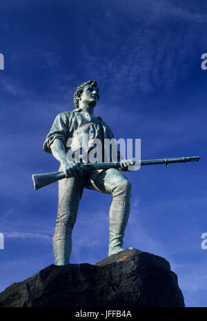 El capitán Parker estatua en Battle Green, Lexington, Massachusetts