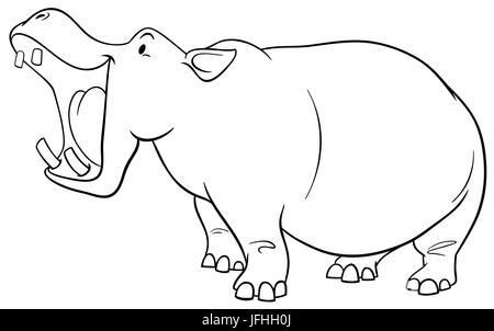 Carácter de hipopótamo página para colorear Foto & Imagen De Stock ...