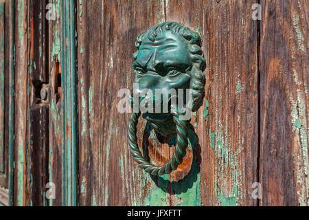 Pomo metálico de bronce con forma de cabeza de león en la antigua puerta de madera.