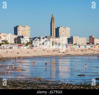 Playa, marea baja, Le Havre, Normandía, Francia
