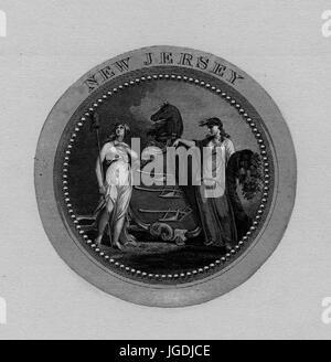 Grabado de el Gran Sello de New Jersey, en 1849. Desde la Biblioteca Pública de Nueva York. Foto de stock