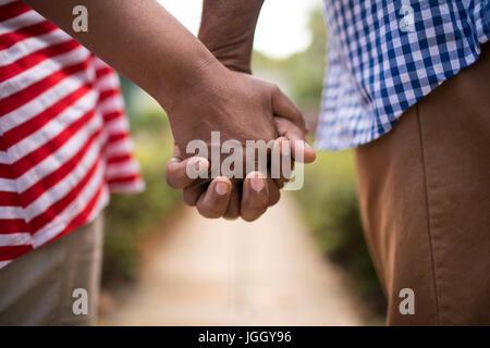 Imagen recortada de alto par la celebración de manos mientras está de pie en el patio