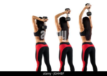 Ejemplo ejercicios con pesas, el ejercicio de tríceps. slim brunette deportiva muestra la correcta realización de ejercicios con pesas en las manos, izquierda