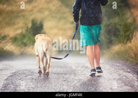 Joven corriendo con su perro (labrador retriever) en Heavy Rain en la carretera rural. Foto de stock
