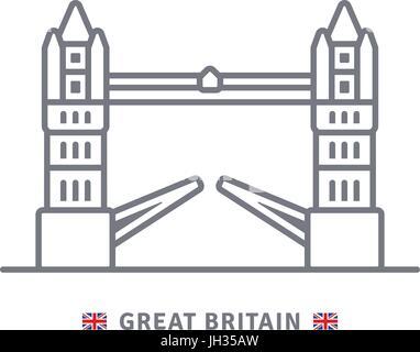 Ilustración de un icono con Gran Bretaña bandera Union Jack ...