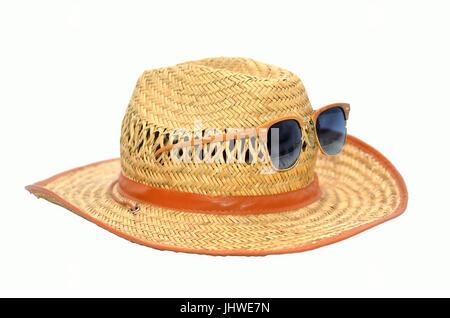 sombrero de verano de ratán con vidrio solar