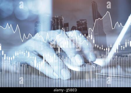 E-business o concepto de forex, negocios en línea, gráficos financieros abstractos con estadísticas