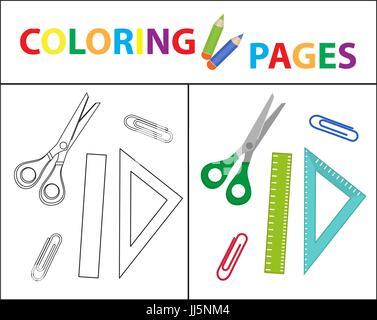 Coloring Book página. Volver a la escuela, marcadores, lápices ...