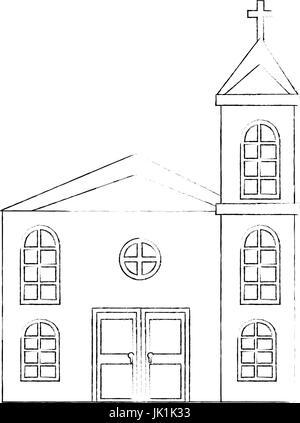 Icono de la iglesia sobre fondo blanco ilustración vectorial